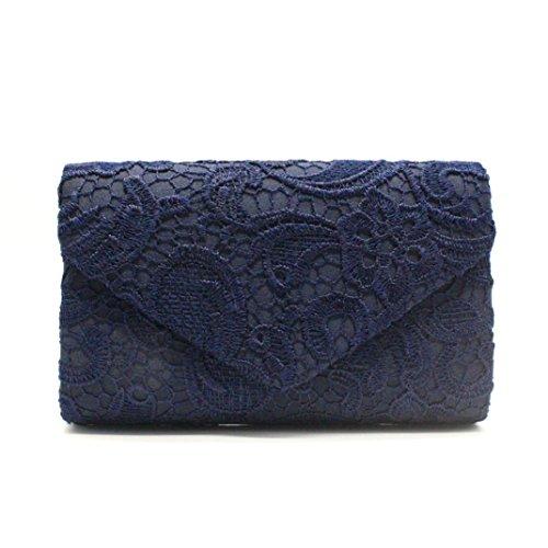Damen Handtaschen, Huhu833 Damen Elegante Blumenspitze Envelope Clutch Abend Prom Handtasche (Dunkel blau)
