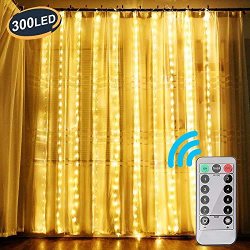 OOTOO Lichtervorhang 300 LEDs Lichterketten Lichterkettenvorhang Warmweiß 3m*3m Innen und außen IP65 Wasserfest 8 Modi mit Fernbedienung, für Party Schlafzimmer Weihnachten Hochzeit Ostern Deko