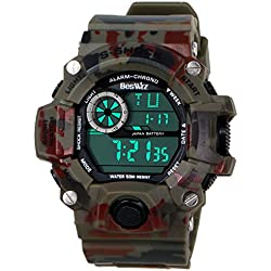 BesWLZ Multi Function Camouflage Green Military Outdoor Sports Watch with LED Analog Digital Waterproof Alarm