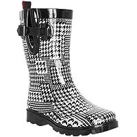 Capelli New York Ladies Houndstooth Printed Mid- Calf Rain Boot White Combo 8