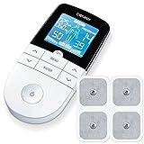 Beurer EM49 Electroestimulador Digital Masaje EMS TENS, Pantalla LCD, 2 Canales, 4 Electrodos autoadhesivos