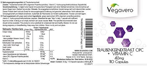 OPC Traubenkernextrakt 400 mg | Testsieger 2016 | 236 mg Reines OPC | Vitamin C | 3,5 Monatsvorrat | Ohne Zusatzstoffe | Natürliches Antioxidans | Vegan | Vegavero Kapseln -