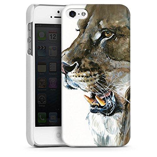 Apple iPhone 4 Housse Étui Silicone Coque Protection Loewe Lions Félin CasDur blanc