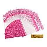Veylin. 50 bolsas de cucurucho en celofán de color rosa para guardar alimentos, dulces, golosinas o sandwiches