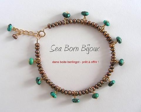 La Gourmandise (7) - Bracelet - Turquoise - Perles de Culture - Or Gold Filled 14 ct - dans Boite Berlingot Doré