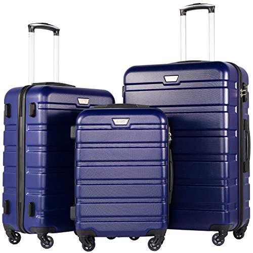 COOLIFE Hartschalen-Koffer Trolley Rollkoffer Reisekoffer mit TSA-Schloss und 4 Rollen(Blau, Koffer-Set) - Set Tsa-schloss