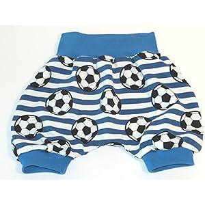 Kurze Pumphose Baby Hose Größe 62/68 Mitwachshose Motiv: Fussball