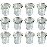 12er Pack Weck Gläser Vorspeisen Dessert Glas mit Deckel 160ml Höhe 8,5cm Einmachglas Einkochglas