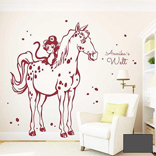 Affen-onkel (Wandtattoo Wandbild Wandaufkleber Pferd Schimmel mit kleinem Affen mit Wunschnamen M1984 von ilka parey wandtattoo-welt ausgewählte Farbe: *dunkelgrau* ausgewählte Größe: *M - 47cm breit x 60cm hoch*)
