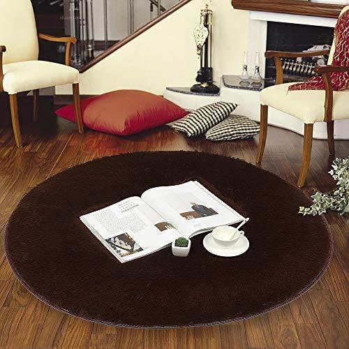 LouisaYork Runde zotteliger Teppich, weicher zotteliger Teppich, weicher Bodenteppich, Spielteppich, 100 cm Durchmesser, Kreis für Schlafzimmer, Wohnzimmer, Nachttisch, Coffee, 1 m -