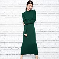 DEED Vestido de Primavera Largo Suéter de Color Sólido Salvaje de Manga Larga,Re,SG