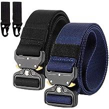 2 Piezas Cinturón Hombres Táctico Militar Ajustable Lona Nylon Hebilla de Metal para Entrenamiento de Caza