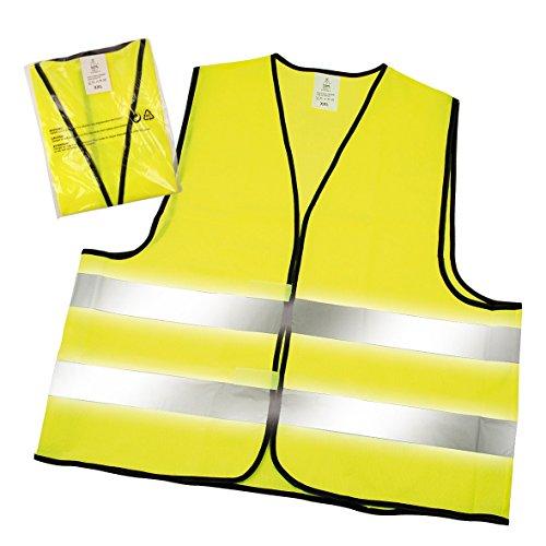 Warnwesten 4er-Set nach EN ISO 20471 zertifiziert Warnweste neon-gelb Größe XXL mit Reflektorstreifen