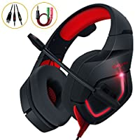 Gaming Kopfhörer PC, MillSO K1 Over Ear Gaming Headset mit Flexible Omnidirektional Mikrofon Noise Cancelling für PS4 Xbox One Nintendo Switch Tablet Smartphone - Rot