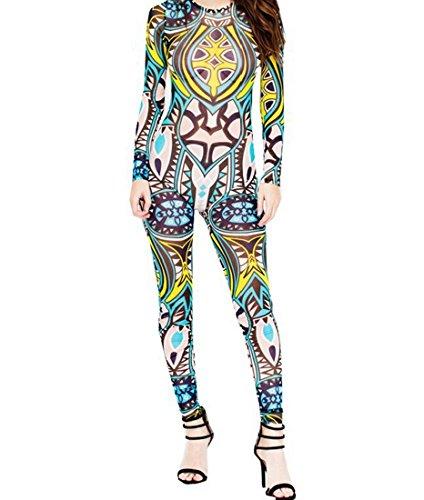 DuuoZy Frauen sexy Retro afrikanischen Stammes-Tätowierung Druck Overall Bodysuit Unterwäsche Bühne Singer Catsuit Clubwear , 6 , (Muster Kostüm Jazz Tanz)