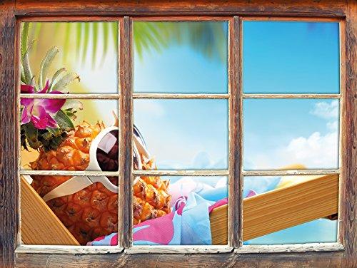 Ananas rende finestra vacanza adesivi murali 3D Formato: Decorazione della parete 62x42cm 3D adesivi da parete decalcomanie