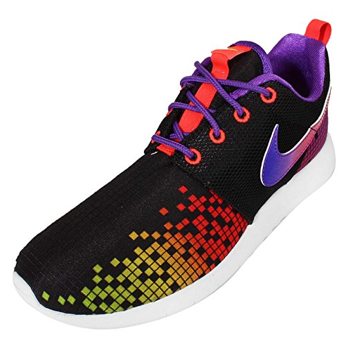 Nike Roshe One Print (Gs), Sneakers basses fille Negro / Blanco / Morado / Verde (Black / White-Hyper Violet-Volt)