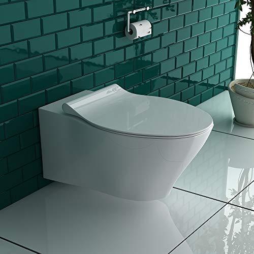 Spülrandloses Hänge WC Keramik Toilette ohne Spülrand inkl. Duroplast WC-Sitz mit Soft-Close / Quick Release Funktion passend zu GEBERIT - 6