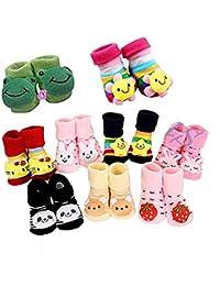 ZZ ZONEX Infants Cotton Cartoon Face Socks Cum Shoes (ZZ 54_Multicolour_0-6 Months) - Set of 1