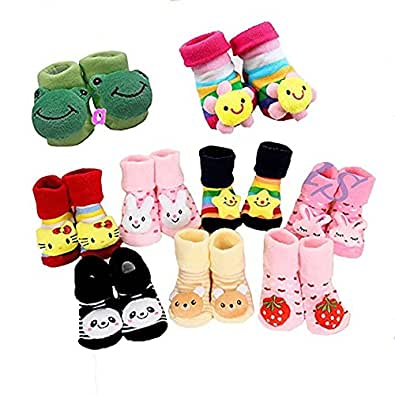 ZZ ZONEX Born Baby Fancy Cartoon Face Socks cum Shoes ( Random Design / Color ) Set Of 1 Pair