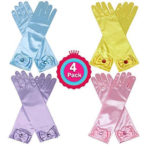 45a5cde1a Casibecks Princess Dress Up Gloves Set Long Satin Gloves Sofia Aurora Elsa  Cinderella Costume Accessories Kids