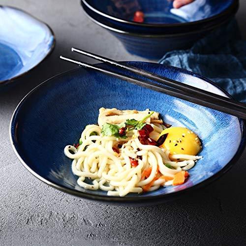 SED Besteck-Set Creative Bowl Restaurant Dish Western Plate, Blaue Keramik große Nudelschale Obstsalat Dessert Snack Dip Bowl Geschirr japanische Suppe Brei Ramen Nudel Servierschüssel 8,5 Zoll Celadon Dessert