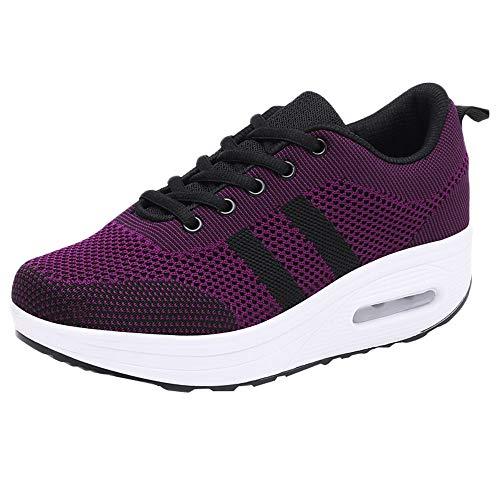 Lazzboy Damen Plateau Schnürer Sneaker mit Keilabsatz (Pink,36.5)
