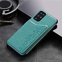 جراب ممتص للصدمات لهاتف Samsung Galaxy S20 S20 Plus S20 Ultra من الجلد المنقوش ثلاثي الأبعاد مع حامل للبطاقات لهواتف Samsung S10 Plus Note10 Plus A51 A71 (Samsung S20 Ultra، أخضر)