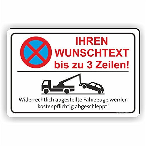 TEXT NACH WUNSCH Quer - Parken verboten Schild / PV-027 (30x20cm Schild)