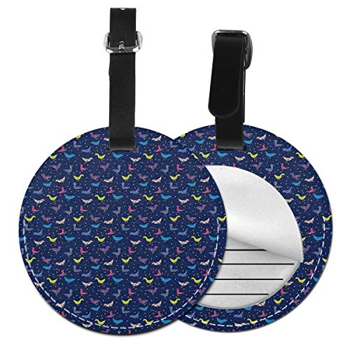 Round Travel Luggage Tags,Abstract Avian Animal Silhouettes with Dots Ornamental Squares and Flowers Motifs,Leather Baggage Tag -