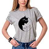 Shirt Femme Tshirt Yin Yang Cat T-Shirt Mignon Chat Tees Shirts Coton Manches Courtes Femmes Causal Blouse Tops(Gris,XL)