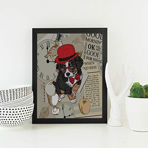 Enhusk Holz Wand Dekor lustige tragende Brille Tiere Kopf Moderne hölzerne gerahmte Vintage Wand Kunst Malerei Print Behänge für Schlafzimmer Wohnzimmer Esszimmer Wand Dekor