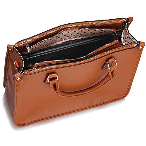 Trays for women (Braun) Haltegriffe Kunstleder Damenhandtaschen -Designer-Tasche Fronttasche A - Braun
