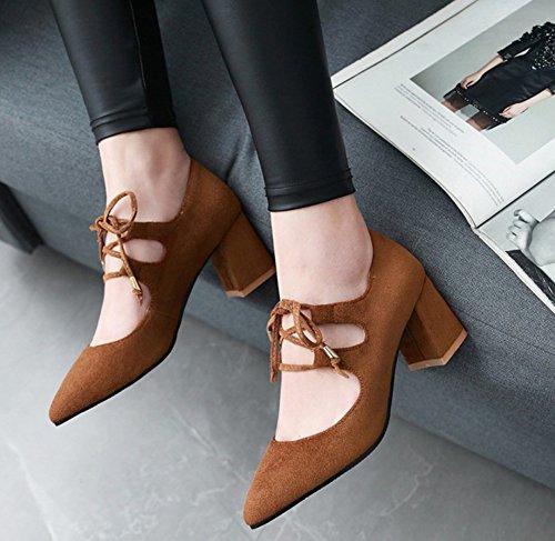 Aisun Femme Confort Pointue Basse Chaussures de Travail Escarpins Brun