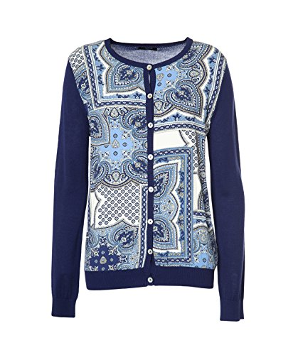 Knit cardigan with print, round neck, long-sleeve and button fastening. Printed
