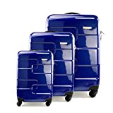 Vesgantti 3 Piece Suitcase Luggage Set - Lightweight 4 Wheel Hard Shell Travel Trolley Spinner Case (20/24/28 inch, Blue Shiny)