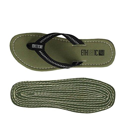 Ethletic Fair Flip vegan Classic - Farbe Camping Green/Funky Black aus Bio-Baumwolle Größe 45