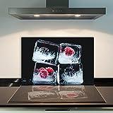 DAMU | Ceranfeldabdeckung 1 Teilig 80x52 cm Herdabdeckplatten aus Glas Obst Eis Rot Schwarz Elektroherd Induktion Herdschutz Spritzschutz Glasplatte Schneidebrett