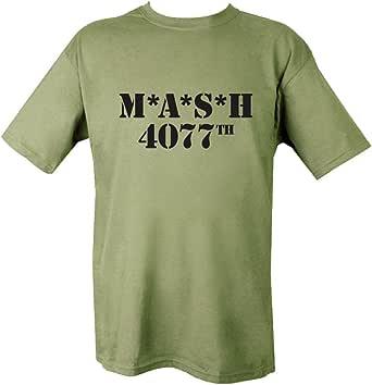 Kombat Mens Military Printed Army Combat British MASH 4077 US Army Green T-Shirt Tshirt