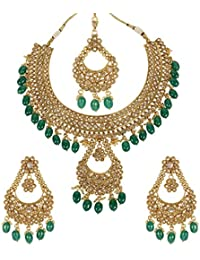 MUCH MORE Marvellous Gold Tone Polki Set With Dropping Of Emerald Stone Traditional Party Wear Jewellery