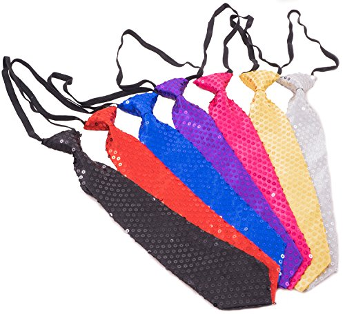 Trendario | Pailletten Krawatte für Karneval, Fasching, JGA | Pailetten Krawatte in verschiedenen Farben (Schwarz)