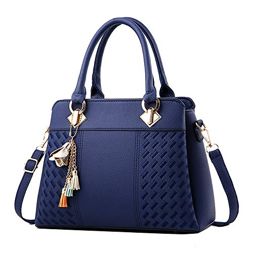 (Tatis Bag Damen Handtaschen Einfarbig PU Gewebt Muster Umhängetasche Quaste Dekorative Anhänger Umhängetasche Mehrschichtige Lagerung Mode Tasche)