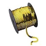 Trayosin 90 Meter Paillettenband Borten Rolle 6 mm Breit Pailletten Band für Bastelprojekte, Tanzbekleidungen (Golden)