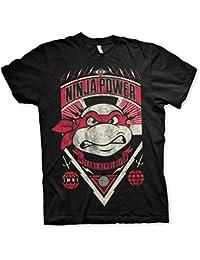 Offizielles Lizenzprodukt TMNT Ninja Power Herren T-Shirt (Schwarz)
