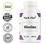 Biotina 10000mcg. Vitaminas de Biotina para fortalecer y evitar la caída del cabello. Biotina pura con ingredientes de máxima calidad para tener una piel, pelo y uñas más fuertes y sanas. Complemento alimenticio de 120 cápsulas vegetales.