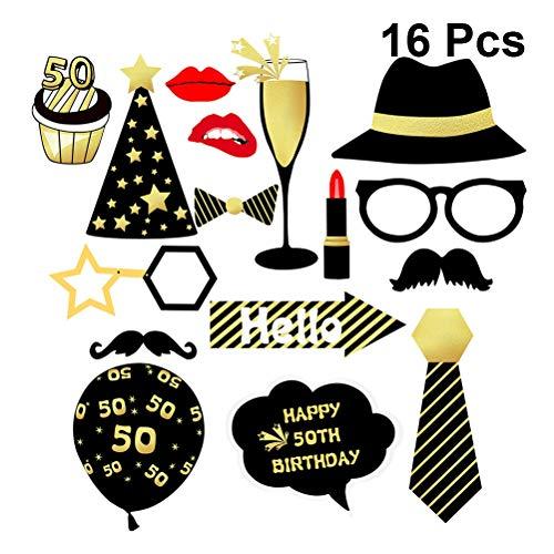 Amosfun 16 Piezas 50 Cumpleaños Bricolaje años Divertidos decoración del Favor máscaras Sombrero Gafas para Mujeres Hombre