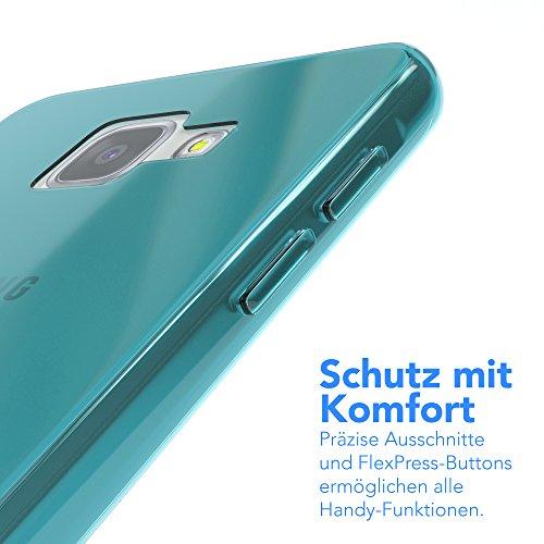 Samsung Galaxy A5 (2016) Hülle - EAZY CASE Ultra Slim Cover TPU Handyhülle Matt - dünne Schutzhülle aus Silikon in Transparent / Weiß Clear Hellblau