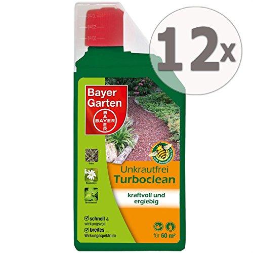 Gardopia Sparpaket: 12 x 1 Liter Bayer Garten Unkrautfrei Turboclean Unkrautvernichter Totalherbizid Plus Zeckenzange mit Lupe