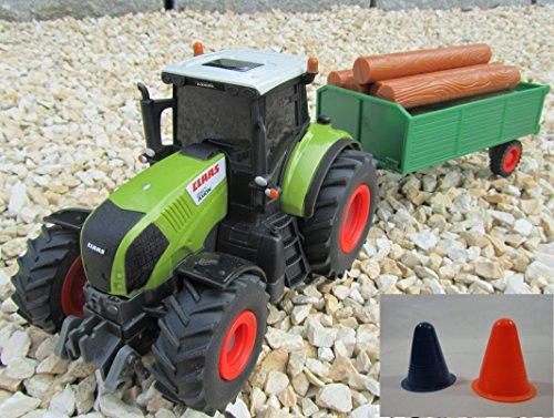"""Preisvergleich Produktbild RC Traktor CLAAS + Hänger & Zubehör 36cm 1:28 Bulldog """"Ferngesteuert""""und 2 Pylonen ca 10 cm 403702-2P"""