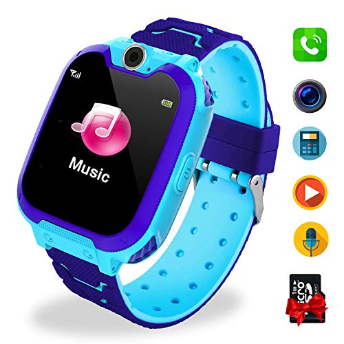 Bambini Game Smartwatch- Music Orologio Smart Phone con SIM Card Camera 7 tipi di giochi Touch Screen Learning Giocattoli Regali di Ragazzi e Ragazze Compleanno -Include scheda SD da 1 GB, Blu